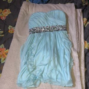 Light blue , banquet dress, sequined .
